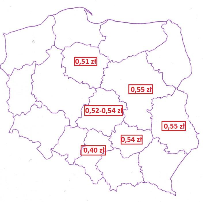 Mapa z cenami jabłka przemysłowego w województwach