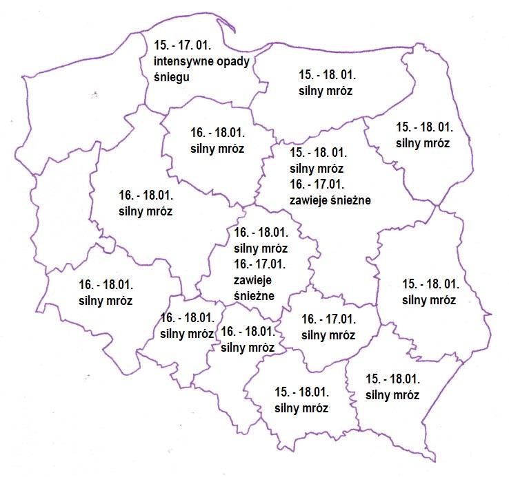 Konturowa mapa Polski - ostrzeżenie meteorologiczne IMGW